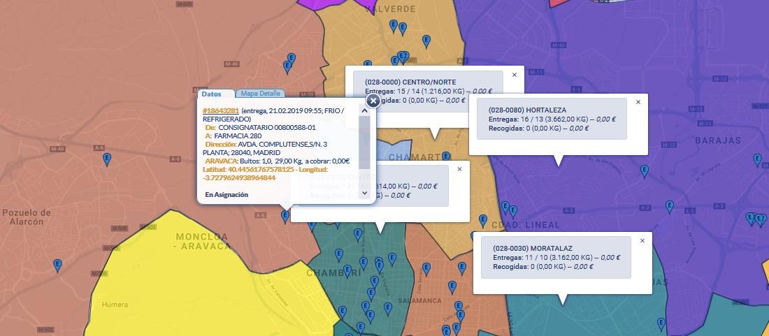 Mapa de envíos en la aplicación Senda de Alerce